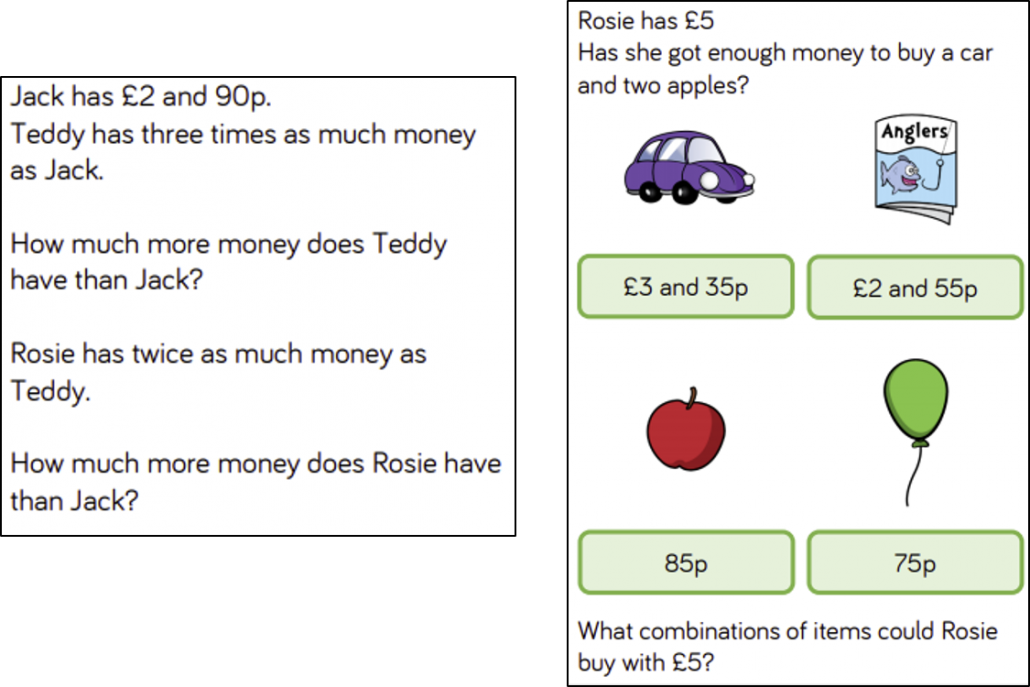 Reasoning questions about money